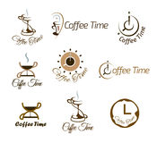 Set of coffee time logo design. Stock Photo