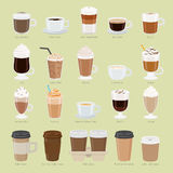 Set of Coffee Types and Packages. Coffee Menu Royalty Free Stock Photos