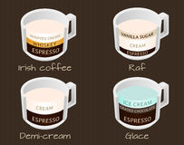 Set of coffee types raf, demi-cream, glace and irish coffee Royalty Free Stock Photos