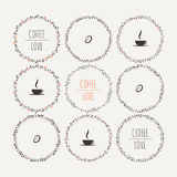Set of coffee vector framework of the vines with Stock Images