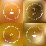 Set of coffee vector framework of the vines with. Hearts and cups and coffee beans Stock Photos