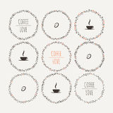 Set of coffee vector framework of the vines with Stock Photos