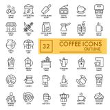 Set of Coffee vector icons on white background. Line simple icons. Coffee cncept. Outline design. Eps 10 Royalty Free Stock Image