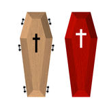 Set of coffins. Red beautiful expensive coffin Stock Photos