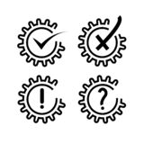 Set of cogs with marks inside it vector illustration