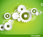 Set of cogwheels on green background Stock Photo