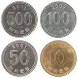 Set coin korean won. A set of isolated Greek coins in circulation on a white background Royalty Free Stock Photos