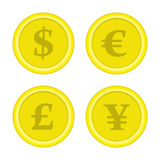 Set of coins dollar euro yen. Stock Images