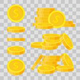 Set coins stack vector illustration, icon flat finance heap, dollar coin pile. Golden money standing on stacked, gold. Piece on transparent background - flat stock illustration