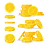 Set coins stack vector illustration, icon flat finance heap, dollar coin pile. Golden money standing on stacked, gold Stock Photos