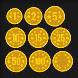 Set of coins with numbers for table casino games. Royalty Free Stock Images
