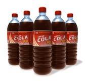 Set of cola drinks in plastic bottles Stock Photos