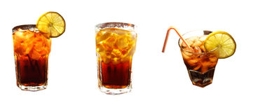 Set of Cola with ice cubes and lemon slice Stock Images
