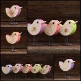 Set Colage Wooden Toy Birds Decoration Rough Background Stock Photo