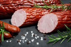 Set of cold cuts on a stone board Royalty Free Stock Photo