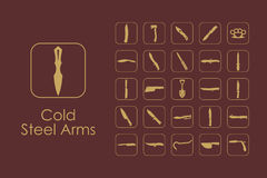 Set of cold steel arms simple icons Stock Image