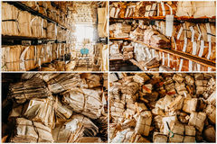 Set Collage Aged, Archive Papers. Keeping Records In Shelves Royalty Free Stock Image