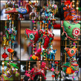 Set Collage Colorful Hanging Decoration royalty free stock photos