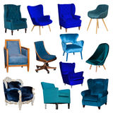 Set collage of different blue chair Stock Images