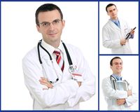 Set (collage) of doctor . Royalty Free Stock Photography
