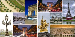 Set or collage of Paris city images. France royalty free stock photos