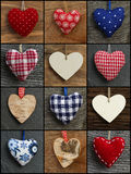Set Collage Valentine's Love hearts on rustic backgrounds Stock Photos