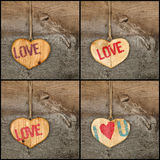 Set Collage Valentines Love message wooden heart signs on rough Royalty Free Stock Photography