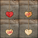 Set Collage Valentines Love message wooden heart signs on rough Stock Photo