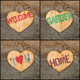 Set Collage Welcome Love Garden Home message wooden heart signs Royalty Free Stock Image