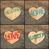 Set Collage Welcome Love Garden Home message wooden heart signs Stock Photography