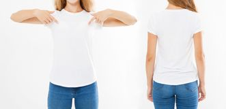 Set collage woman in white tshirt, pointed on t shirt, mock up for design.  stock photography