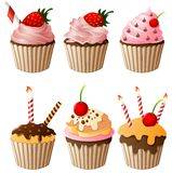 Set collection of Birthday cake cartoon Stock Photography