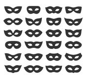 Set Collection of Black Carnival Masquerade Masks Icons Isolated Stock Photos