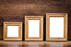 Set of collection blank wooden photo frame. Royalty Free Stock Photos