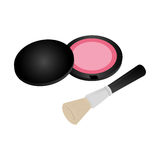 Set collection blush with brush makeup Stock Images