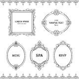 Set collection of borders, frames with sample text in calligraphic retro style isolated on white background. Royalty Free Stock Photo