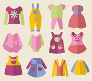 Set with collection of children's clothing  - Illustration Royalty Free Stock Images