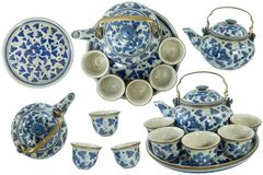 Set collection of china design ceramic pottery porcelain tea blue color royalty free stock photography