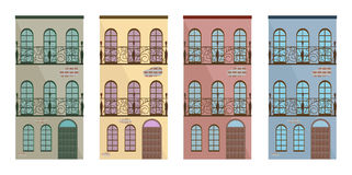 Set collection of colorful architecture facade buildings vector Royalty Free Stock Image