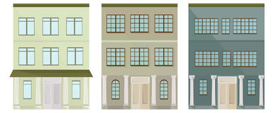 Set collection of colorful architecture facade houses buildings vector Stock Images