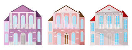 Set collection of colorful architecture facade houses buildings vector. pastel pink. Set collection of colorful architecture facade houses buildings vector Royalty Free Stock Photography