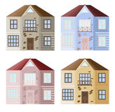 Set collection of colorful architecture facade houses buildings vector. S Stock Images