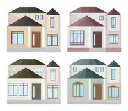Set collection of colorful architecture facade houses buildings vector. S Royalty Free Stock Images