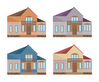 Set collection of colorful architecture facade houses buildings vector. S Stock Photos