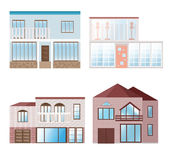 Set collection of colorful architecture facade houses buildings vector. S Stock Image
