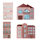 Set collection of colorful architecture facade houses buildings vector. S Royalty Free Stock Photos