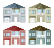 Set collection of colorful architecture facade houses buildings vector. S Royalty Free Stock Photography