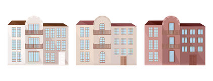 Set collection of colorful architecture facade houses buildings vector. S Royalty Free Stock Image