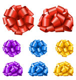 Set Collection of Colorful Festive Ribbon Bows  on White. Background Royalty Free Stock Image