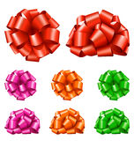 Set Collection of Colorful Festive Ribbon Bows  on White. Background Stock Images